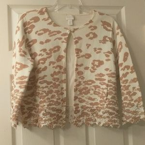 Chico's leopard print one button sweater jacket